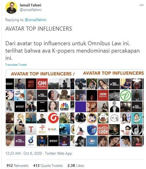 Dilihat dari avatar-nya, pecinta K-Pop mendominasi percakapan Omnibus Law. (Twitter/ ismailfahmi)