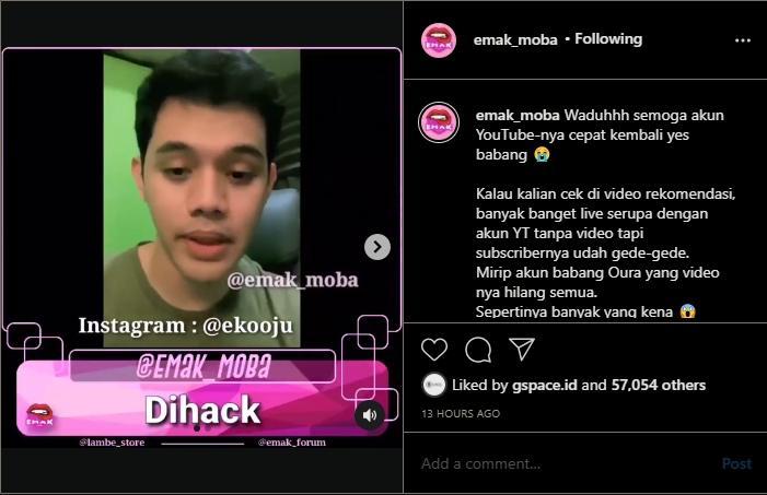 Channel YouTube Oura kena hack. (instagram/emak_moba)