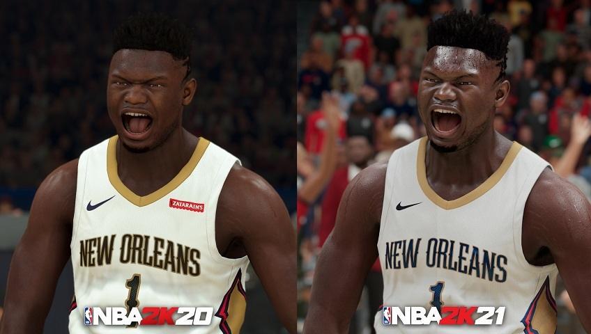 Perbandingan visual Zion Williamson di NBA 2K21 Next-Gen  dan NBA 2K20. (2K)