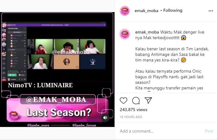 Season terakhir Antimage dan SaSa di ONIC. (instagram/emak_moba)