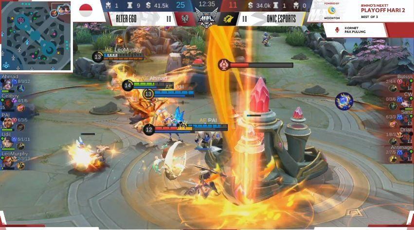 Game pertama Alter Ego vs ONIC dimenangkan AE dengan skor 26 vs 11. (YouTube/ MPL Indonesia)