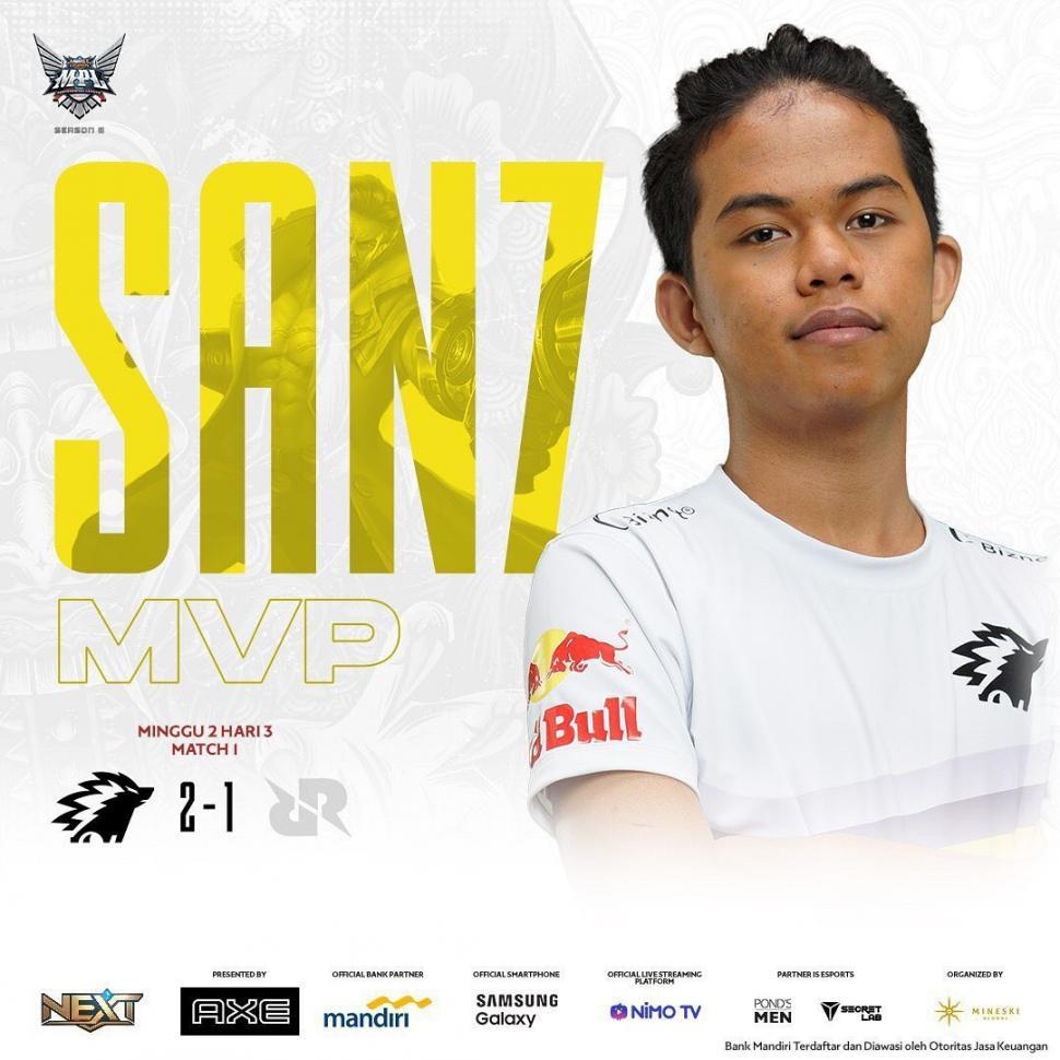 ONIC Sanz jadi MVP MPL Indonesia Season 6 Week 2. (instagram/mpl.id.official)