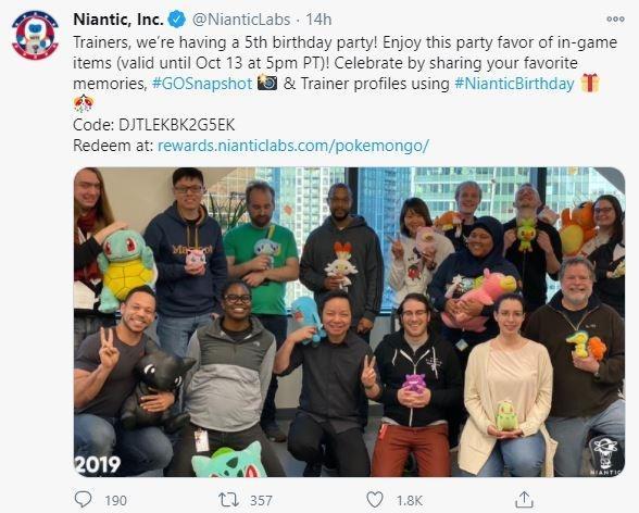 Niantic menawarkan redeem code untuk mengklaim bonus item di Pokemon Go. (Twitter/ NianticLabs)