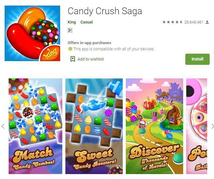 Game sederhana Candy Crush Saga. (Google Play Store)