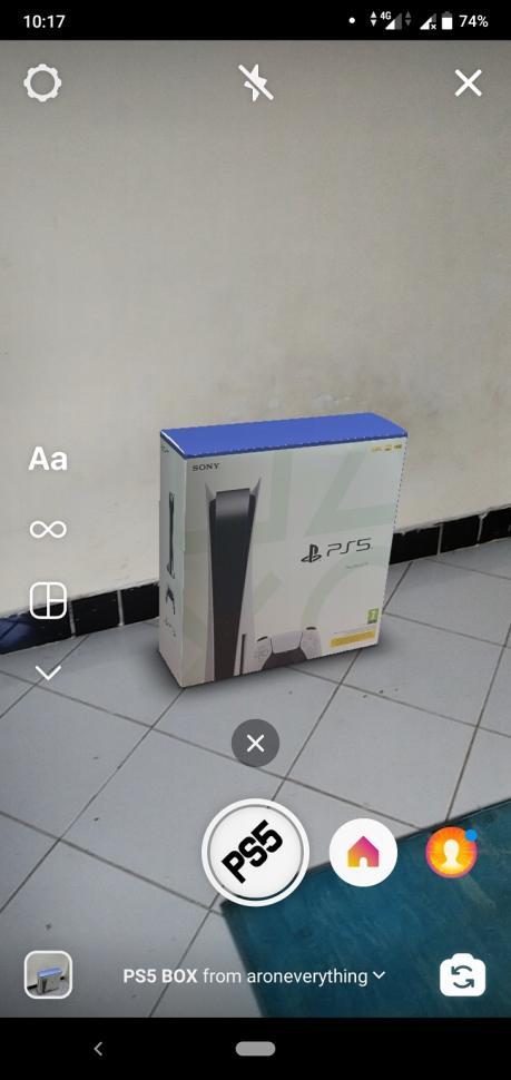 Filter IG PS5 Box dari AR on everything. (HiTekno.com)