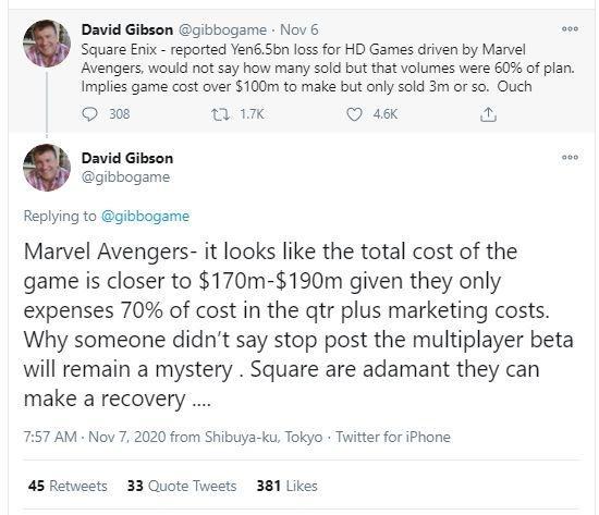 David Gibson memberikan bocoran mengenai volume penjualan dari game Marvel's Avengers. (Twitter/ gibbogame)