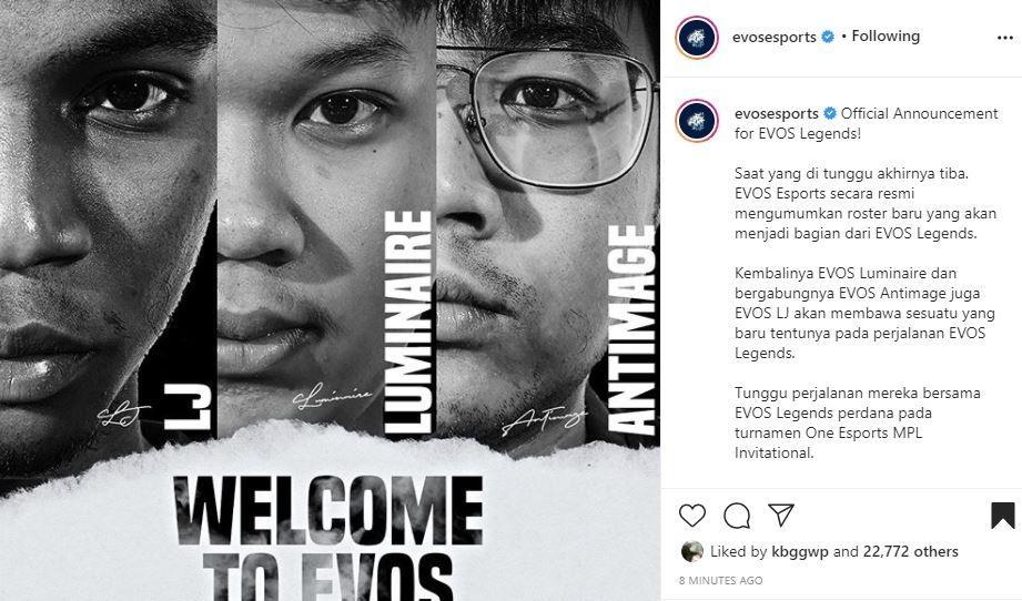 EVOS umumkan para roster anyarnya. (Instagram/ Evosesports)