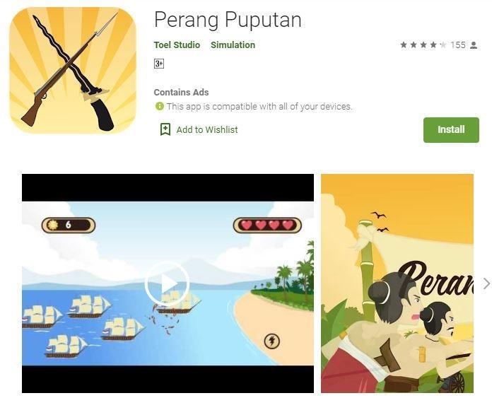 Ilustrasi game Perang Puputan. (Play Store)