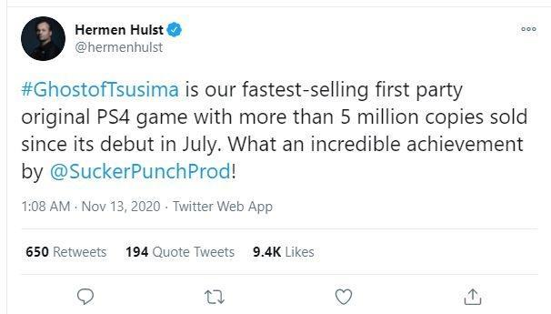 Petinggi PlayStation mengucapkan selamat kepada pencapaian game Ghost Of Tsushima. (Twitter/ hermenhulst)