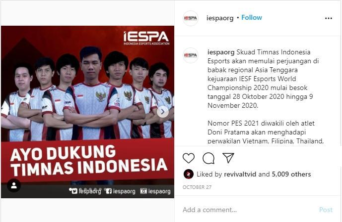 Timnas DOTA 2 Indonesia. (instagram/iespaorg)