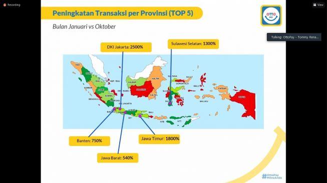 Peningkatan transaksi Ottopay salama pandemi. [Screenshot/Dicky Prastya]