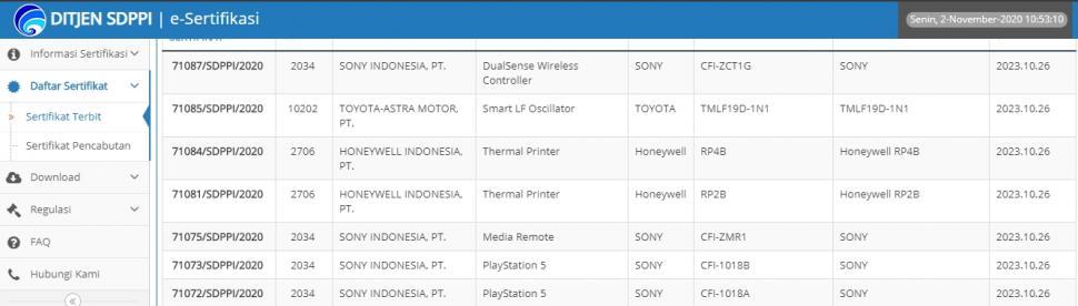 PlayStation 5 lolos uji sertifikasi di Indonesia. (postel.go.id)