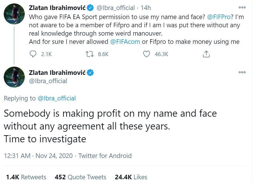 Protes Zlatan Ibrahimovic pada FIFA 21 yang yang memakai wajah dan namanya tanpa izin. (Twitter/ Ibra_official)