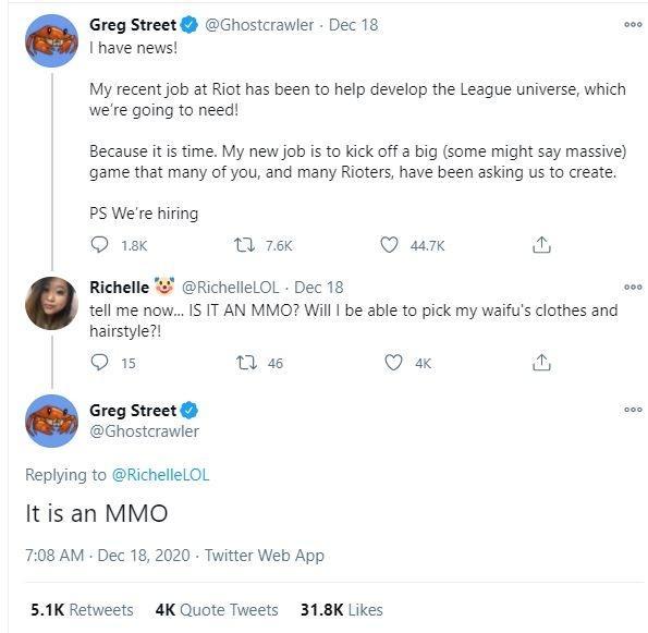 Pernyataan Riot Games mengenai game baru MMO League of Legends. (Twitter/ Ghostcrawler)