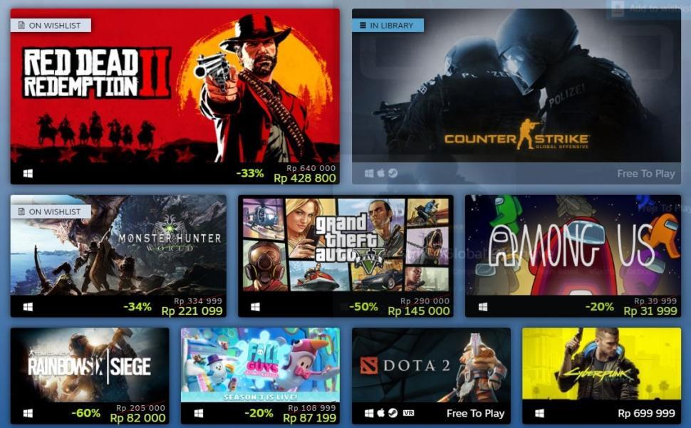 Game PC terlaris 2020. (Steam)
