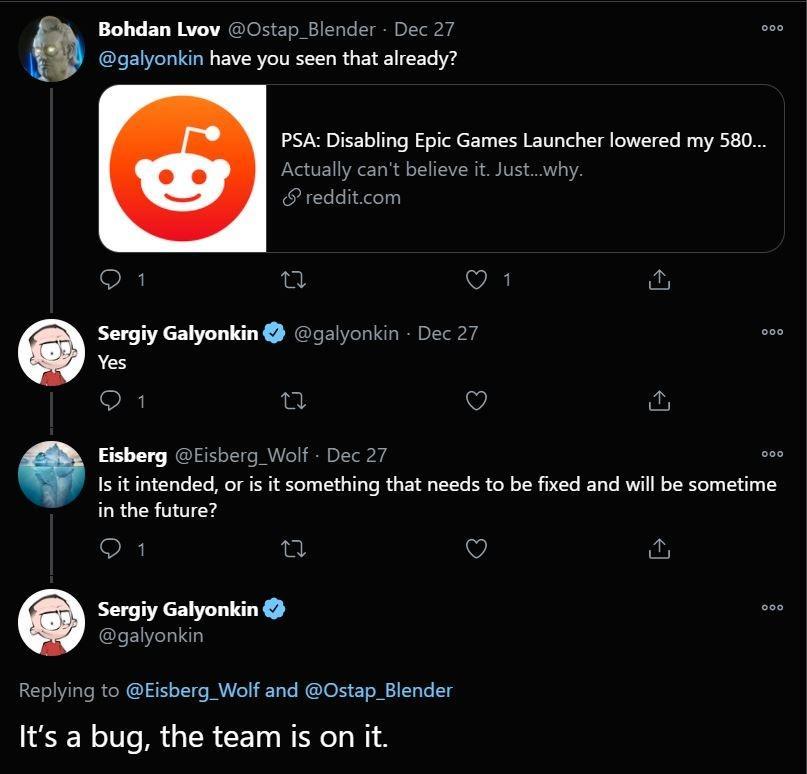 Tim Epic Games telah mengetahui bugs pada launcher dan sedang menanganinya. (Twitter)