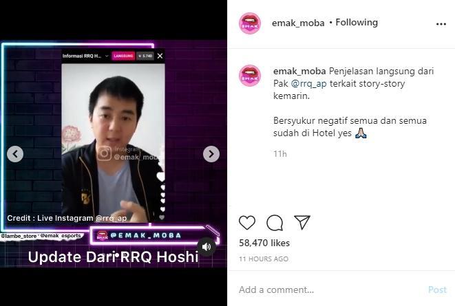 CEO RRQ ungkap kronologi roster ditahan di bandara Singapura. (instagram/emak_moba)