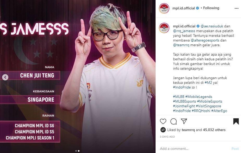 Profil pelatih RRQ Hoshi. (Instagram/ mpl.id.official)