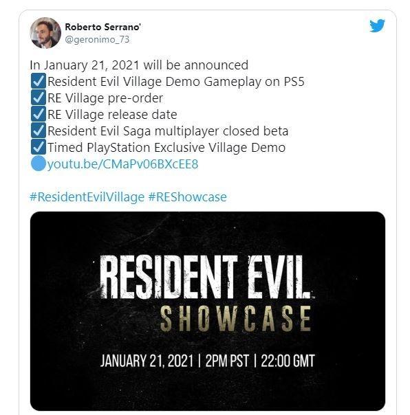 Resident Evil Village siap pamerkan gameplay pada 21 Januari 2021. (Twitter/ geronimo_73)