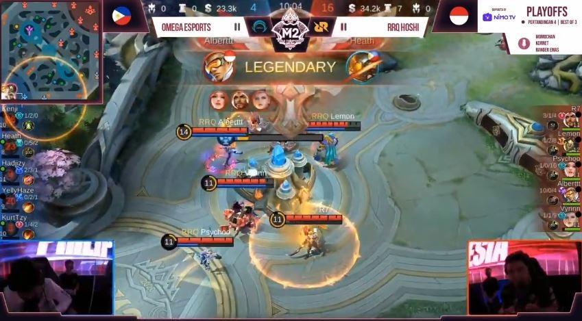 Game kedua RRQ vs Omega dimenangkan RRQ dengan skor 16 vs 4. (YouTube/ MPL Indonesia)