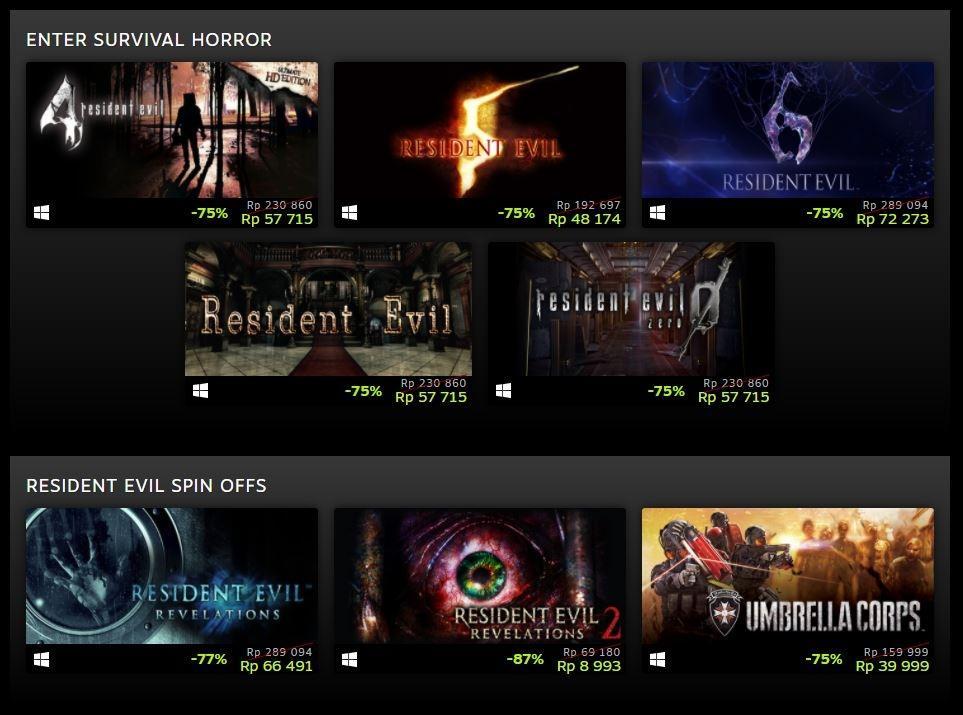 Resident Evil dapat diskon besar di Steam. (Steam)