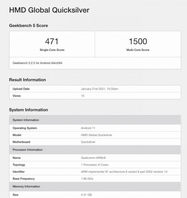 HP Nokia dengan kode nama Quiksilver di Geekbench. (Geekbench)