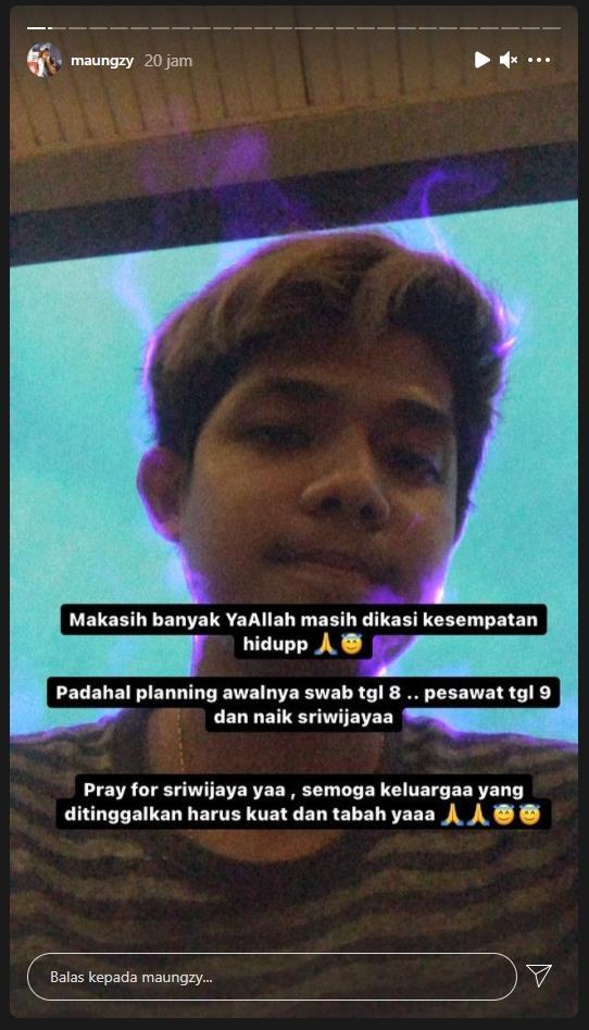 Ahmad Alter Ego Nyaris Jadi Korban Kecelakaan Sriwijaya Air. (Instagram/ maungzy)