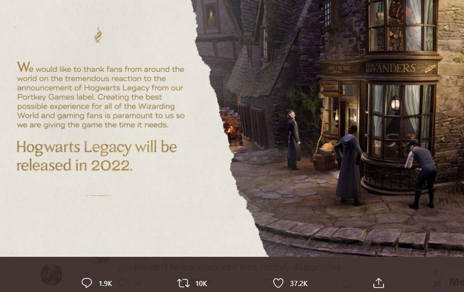 Game Harry Potter Hogwarts Legacy harus ditunda hingga 2022. (Twitter/ HogwartsLegacy)