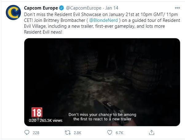 Resident Evil Village siap pamerkan gameplay pada 21 Januari 2021. (Twitter/ CapcomEurope)