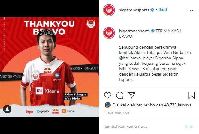 Bravo hengkang dari Bigetron Alpha. (instagram/bigetronesports)