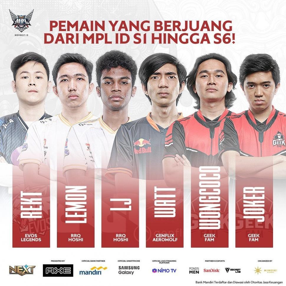 6 pro player yang sudah berkarir sejak MPL Indonesia Season 1. (instagram/mpl.id.official)