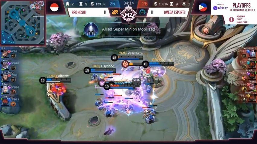 Game pertama RRQ vs Omega dimenangkan RRQ dengan skor 26 vs 26. (YouTube/ MPL Indonesia)