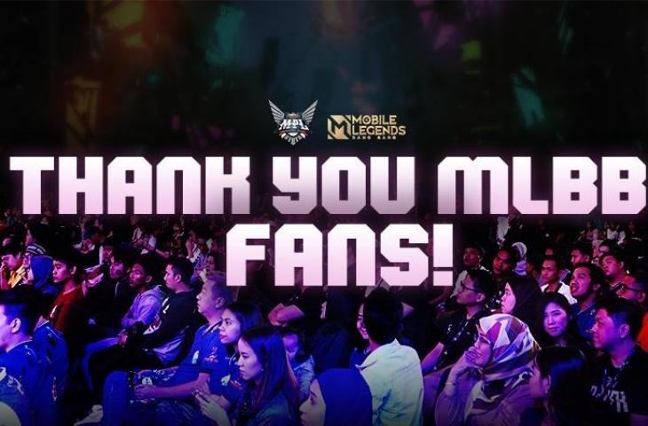 Ucapan terima kasih kepada fans Mobile Legends. (Moonton)