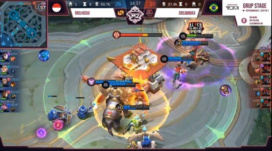 Game pertama RRQ Hoshi vs DreamMax dimenangkan RRQ dengan skor 26 vs 10. (YouTube/ Mobile Legends Bang Bang)