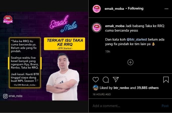 Rumor BTR Taka ke RRQ. (instagram/emak_moba)