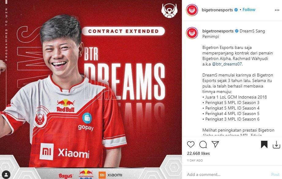 DreamS dapat perpanjangan kontrak. (Instagram/ Bigetronesports)
