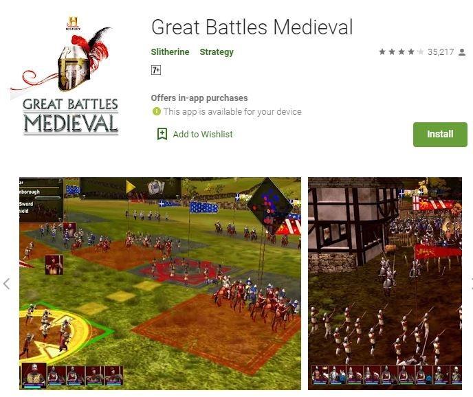 Game perang Great Battles Medieval. (Play Store)