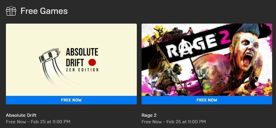 Rage 2 dan Absolute Drift jadi game gratis. (Epic Games Store)