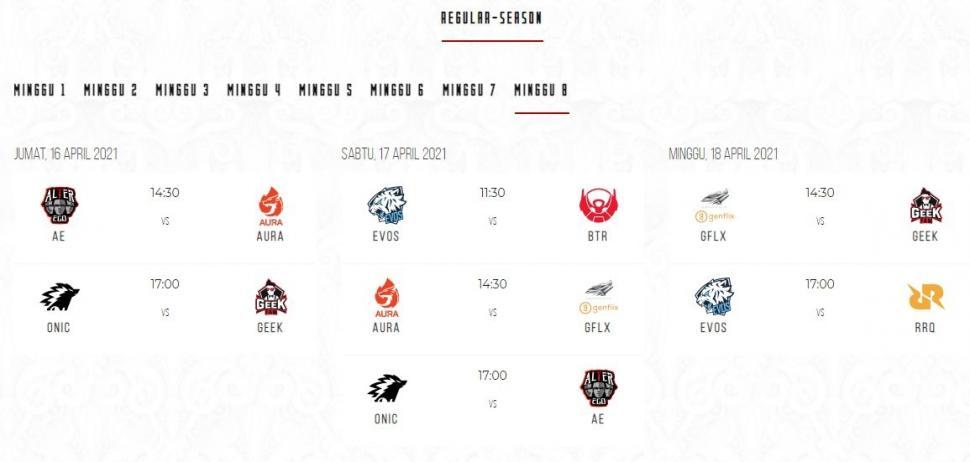 Jadwal MPL Season 7 babak reguler minggu ke-8. (id-mpl.com)