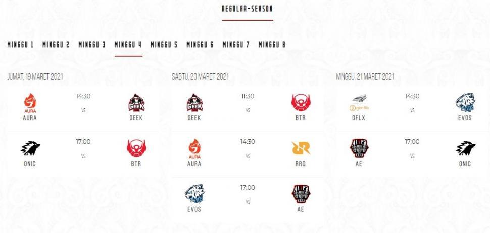 Jadwal MPL Season 7 babak reguler minggu ke-4. (id-mpl.com)
