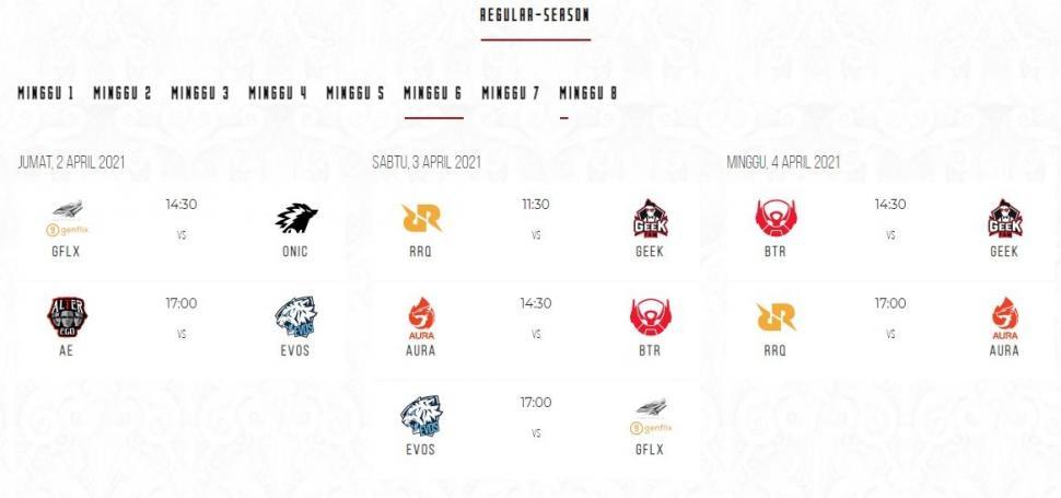 Jadwal MPL Season 7 babak reguler minggu ke-6. (id-mpl.com)