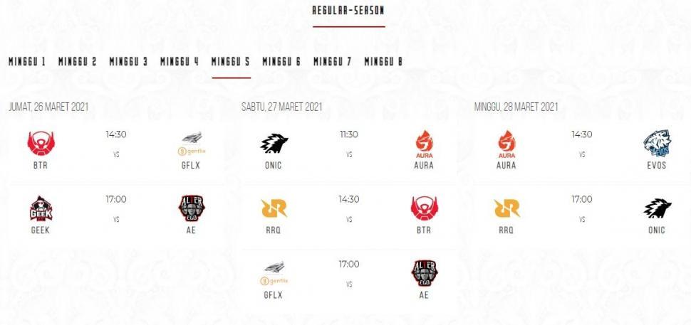 Jadwal MPL Season 7 babak reguler minggu ke-5. (id-mpl.com)