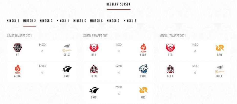 Jadwal MPL Season 7 babak reguler minggu ke-2. (id-mpl.com)