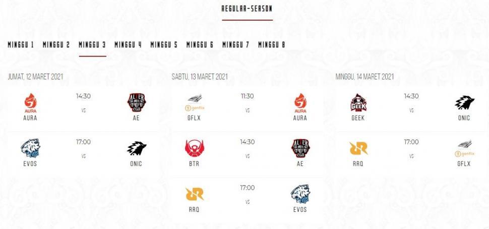 Jadwal MPL Season 7 babak reguler minggu ke-3. (id-mpl.com)
