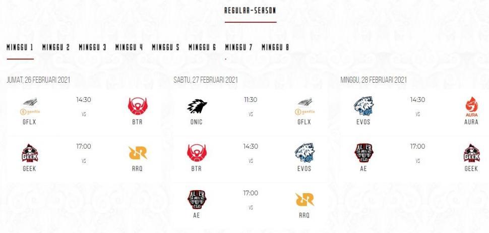Jadwal MPL Season 7 babak reguler minggu ke-1. (id-mpl.com)