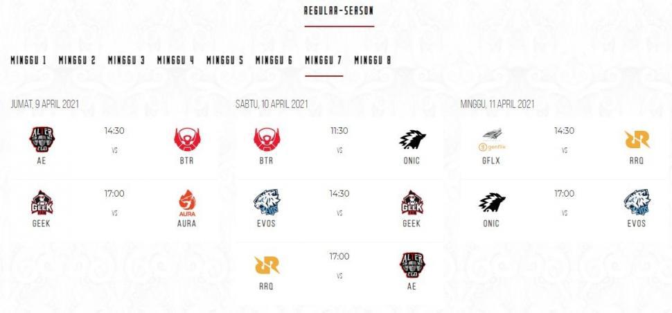 Jadwal MPL Season 7 babak reguler minggu ke-7. (id-mpl.com)
