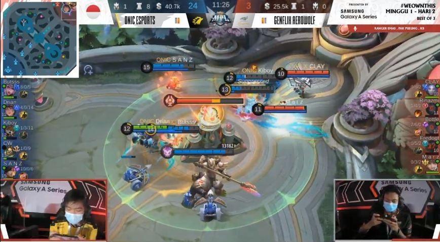 Game ketiga Genflix Aerowolf vs ONIC Esports dimenangkan ONIC. (Youtube/ MPL Indonesia)