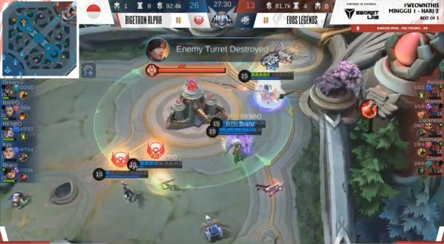 Game ketiga EVOS vs Bigetron dimenangkan oleh BTR. (YouTube/ MPL Indonesia)