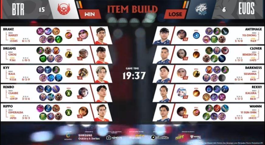 Game kedua EVOS vs Bigetron dimenangkan oleh BTR. (YouTube_MPL Indonesia)A