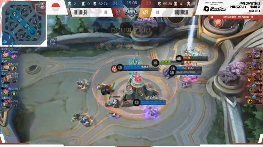 Game pertama Alter Ego vs RRQ dimenangkan oleh AE dengan skor 21 vs 12. (YouTube/ MPL Indonesia)